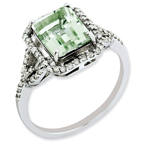 2 ct Sterling Silver Green Quartz and Diamond Ring