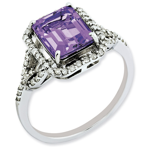 2.15 ct Sterling Silver Amethyst and Diamond Ring