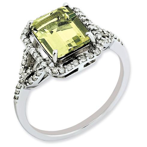 2 ct Sterling Silver Diamond and Lemon Quartz Ring