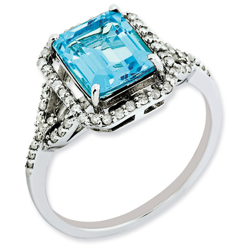3 ct Sterling Silver Diamond and Light Swiss Blue Topaz Ring