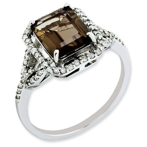 2 ct Sterling Silver Diamond and Smokey Quartz Ring