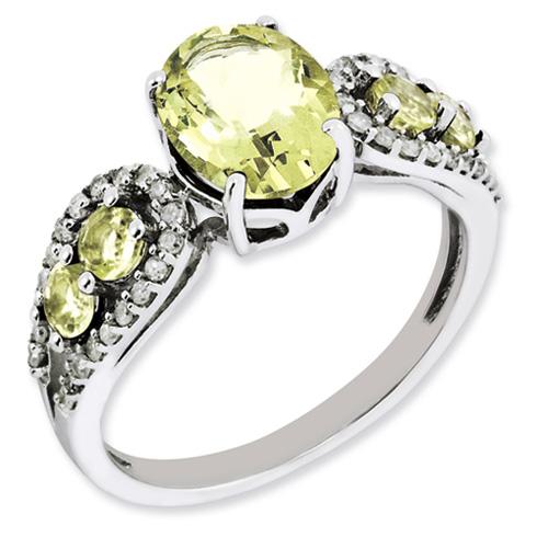 1.72 ct Sterling Silver Diamond and Lemon Quartz Ring