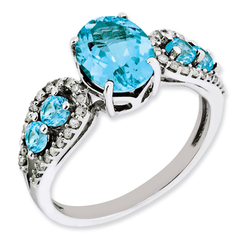 2.74 ct Sterling Silver Diamond and Light Swiss Blue Topaz Ring