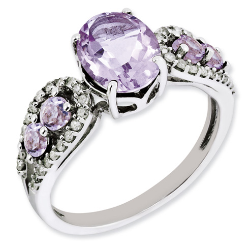 2.16 ct Sterling Silver Diamond and Pink Quartz Ring