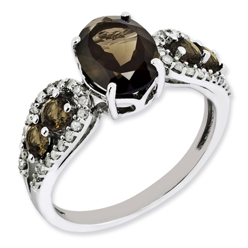 1.72 ct Sterling Silver Diamond and Smokey Quartz Ring