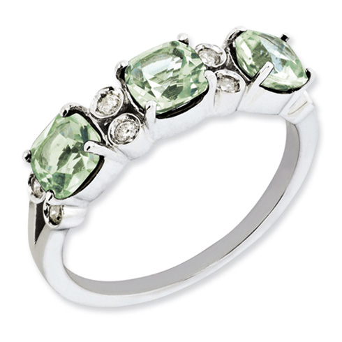 1.59 ct Sterling Silver Green Quartz and Diamond Ring