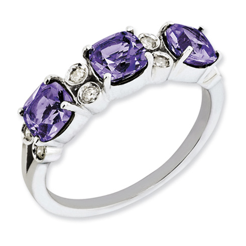 1.59 ct Sterling Silver Amethyst and Diamond Ring