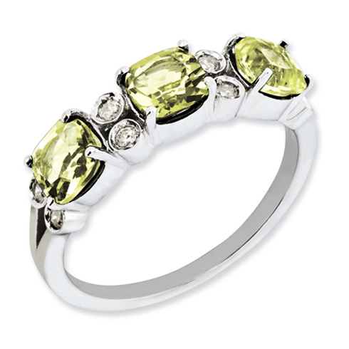 Sterling Silver 1.59 ct 3-Stone Lemon Quartz Ring with Diamonds
