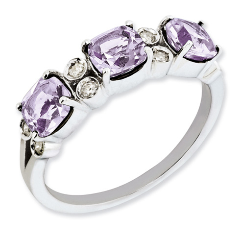 Sterling Silver 1.59 ct Three Stone Pink Quartz Ring with Diamonds