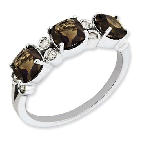 1.59 ct Sterling Silver Diamond and Smokey Quartz Ring