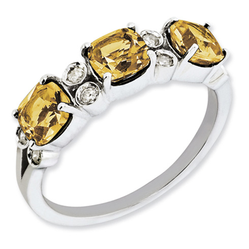 1.59 ct Sterling Silver Whiskey Quartz and Diamond Ring