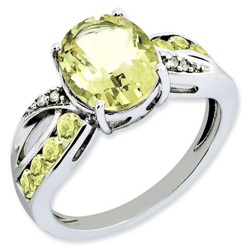 2.73 ct Sterling Silver Diamond and Lemon Quartz Ring