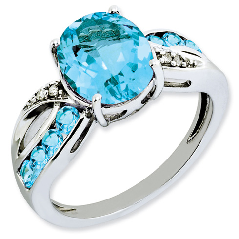 4.44 ct Sterling Silver Diamond and Light Swiss Blue Topaz Ring