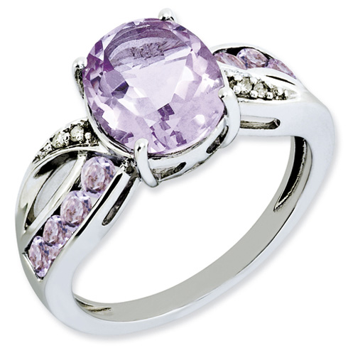 Sterling Silver 2.88 ct Oval Pink Amethyst Ring with Diamond Accents