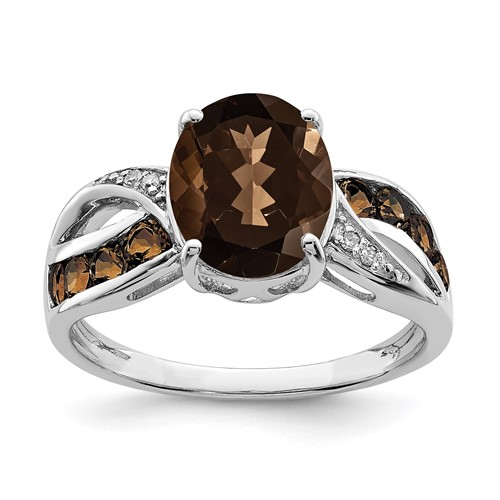 Sterling Silver 2.73 ct Smoky Quartz Ring with Diamonds
