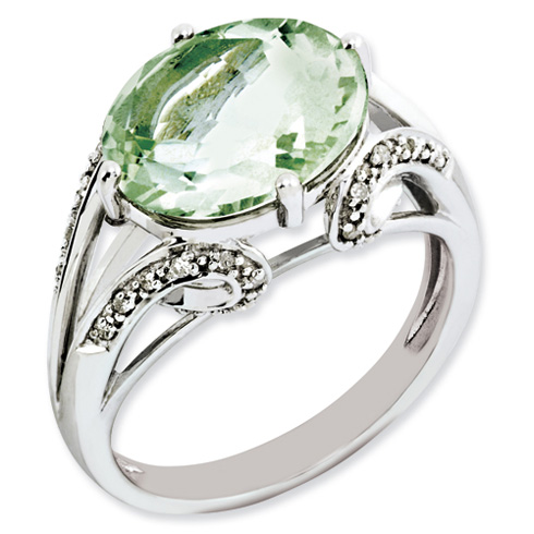 4.5 ct Sterling Silver Diamond and Green Quartz Ring