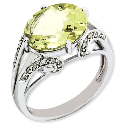 4.5 ct Sterling Silver Diamond and Lemon Quartz Ring