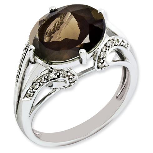 4.5 ct Sterling Silver Diamond and Smokey Quartz Ring