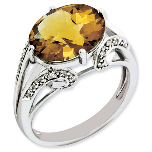 4.5 ct Sterling Silver Diamond and Whiskey Quartz Ring