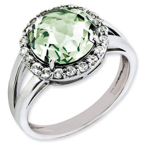 3.4 ct Sterling Silver Green Quartz Ring