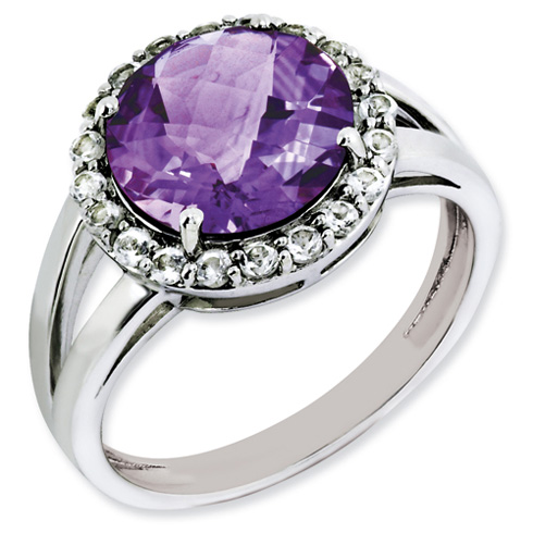 3.4 ct Sterling Silver Amethyst Ring