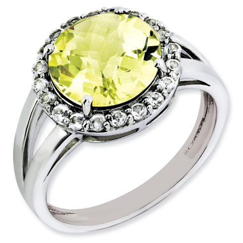 Sterling Silver 3.4 ct Lemon Quartz and White Topaz Halo Ring
