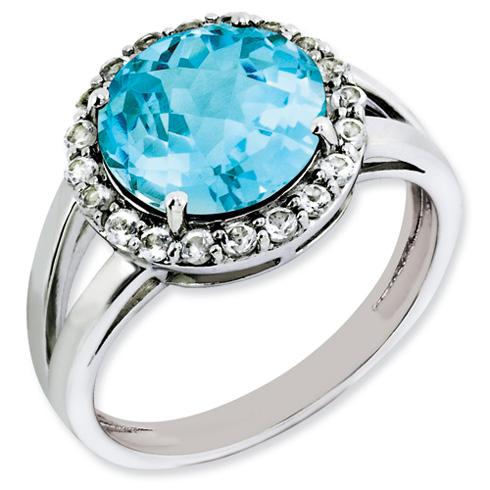 4.45 ct Sterling Silver Light Swiss Blue Topaz Ring