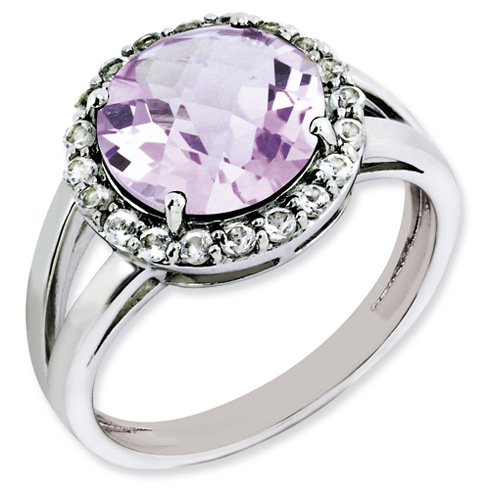 3.4 ct Sterling Silver Pink Quartz and White Topaz Ring