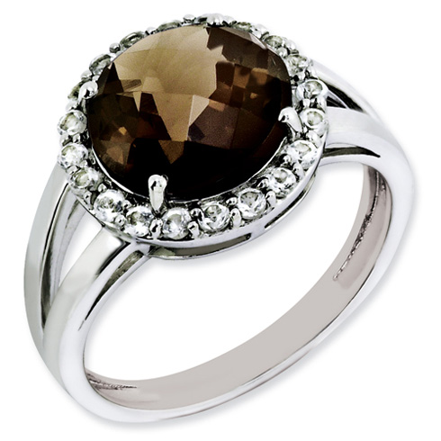 3.4 ct Sterling Silver Smoky Quartz and White Topaz Ring