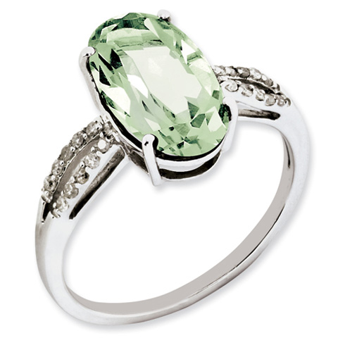 4 ct Sterling Silver Green Quartz and Diamond Ring
