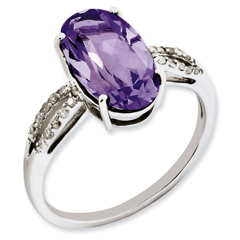 4 ct Sterling Silver Amethyst and Diamond Ring