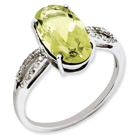 4 ct Sterling Silver Diamond and Lemon Quartz Ring