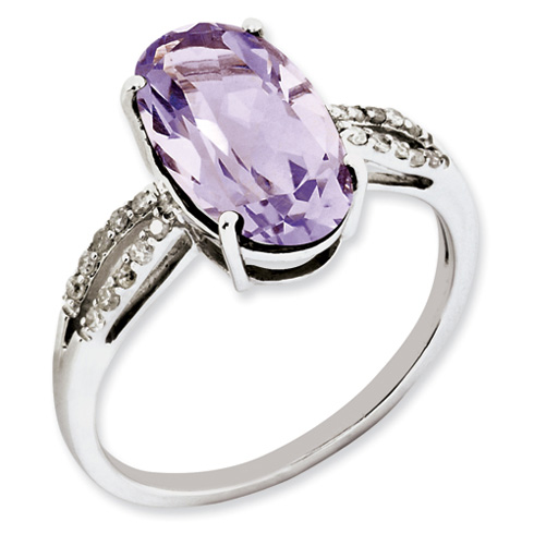 4 ct Sterling Silver Diamond and Pink Quartz Ring
