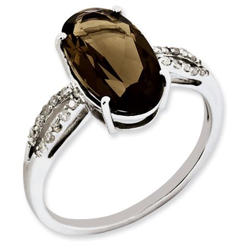 4 ct Sterling Silver Diamond and Smokey Quartz Ring