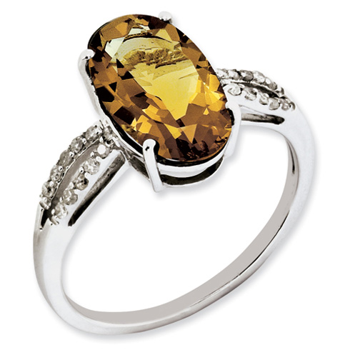 4 ct Sterling Silver Whiskey Quartz and Diamond Ring