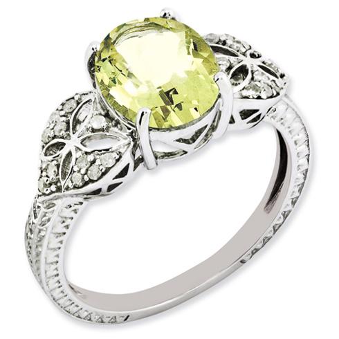 2.4 ct Sterling Silver Diamond and Lemon Quartz Ring