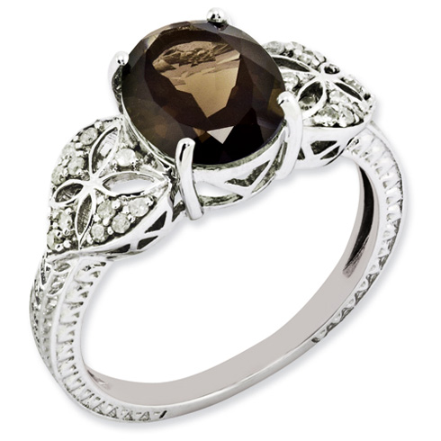 2.4 ct Sterling Silver Diamond and Smokey Quartz Ring