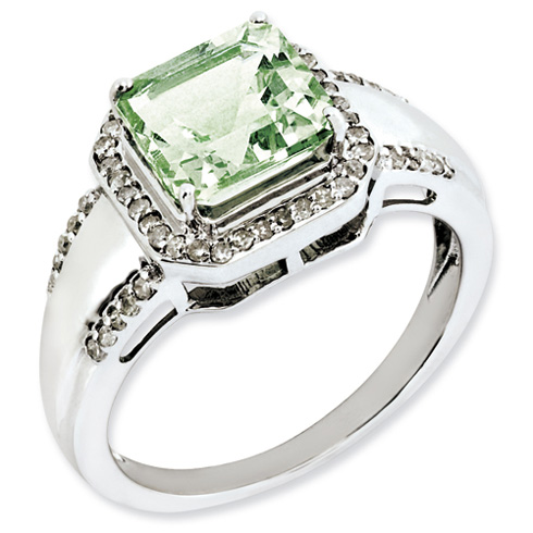2.3 ct Sterling Silver Diamond and Green Quartz Ring