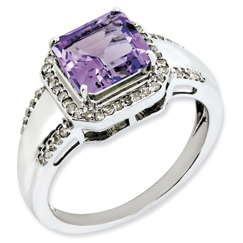 2 ct Sterling Silver Amethyst and Diamond Ring