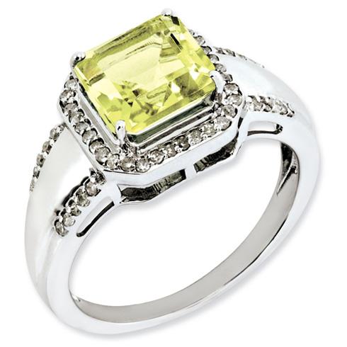 2.3 ct Sterling Silver Diamond and Lemon Quartz Ring