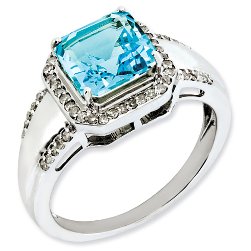 3.35 ct Sterling Silver Diamond and Light Swiss Blue Topaz Ring