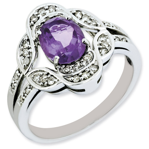 1.05 ct Sterling Silver Amethyst and Diamond Ring