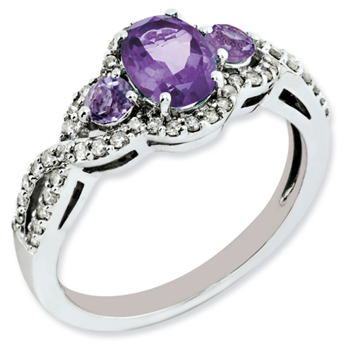 0.75 ct Sterling Silver Amethyst and Diamond Ring