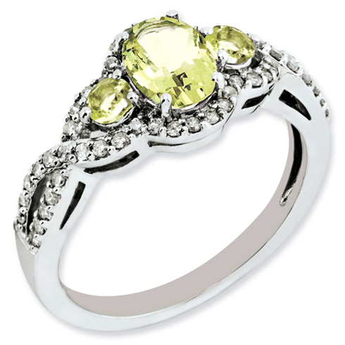 0.8 ct Sterling Silver Diamond and Lemon Quartz Ring