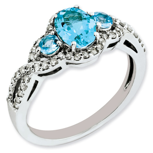 1.22 ct Sterling Silver Diamond and Light Swiss Blue Topaz Ring