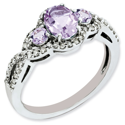 Sterling Silver 1.02 ct 3-Stone Pink Quartz Ring with Diamonds