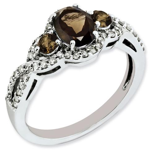 0.8 ct Sterling Silver Diamond and Smokey Quartz Ring