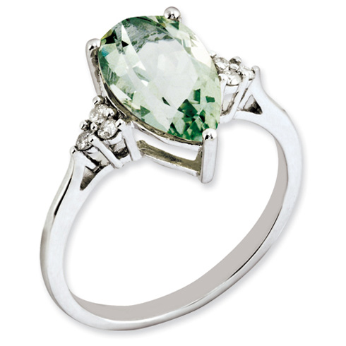 2.9 ct Sterling Silver Diamond and Green Quartz Ring