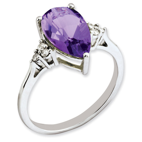 2.9 ct Sterling Silver Amethyst and Diamond Ring
