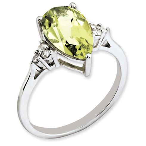 2.9 ct Sterling Silver Diamond and Lemon Quartz Ring